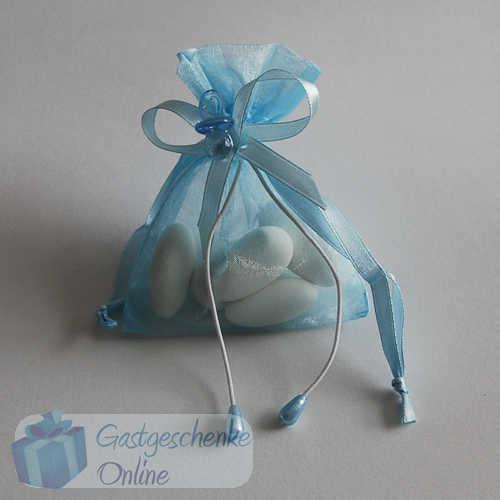 Gastgeschenke Organza hellblau oder rosa Taufe//Geburt